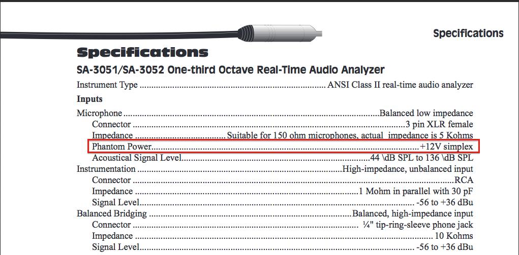 Audio Control SA 3051 : 3052 input specs