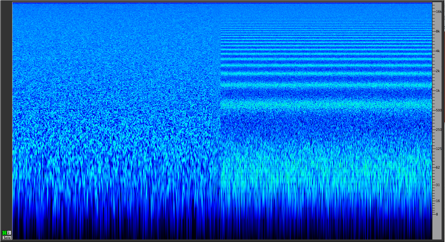 pink noise spectragram with and without comb filtering