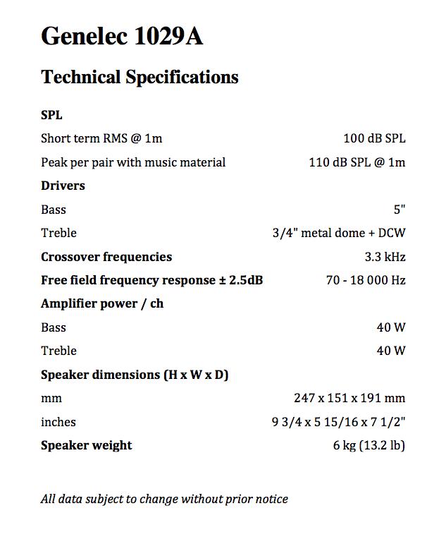 Genelec 1029a HT205 spec