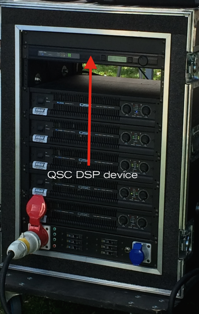QSC amp rack and DSP