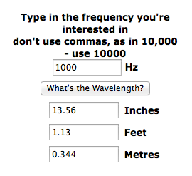 Wavelength of 1000hz