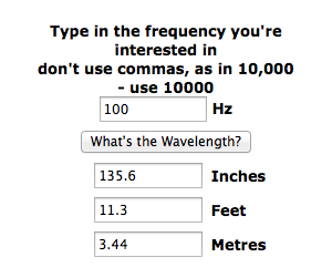 Wavelength of 100hz