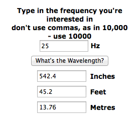 Wavelength of 25hz