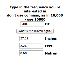 Wavelength of 500hz