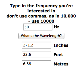 Wavelength of 50hz