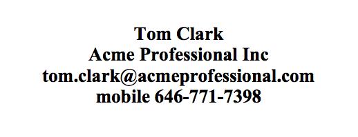 Tom Clark - Acme Professionals Inc